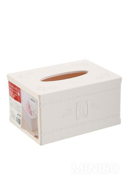 קופסת טישו קטנה עם קישוטי תבליט (לבן )