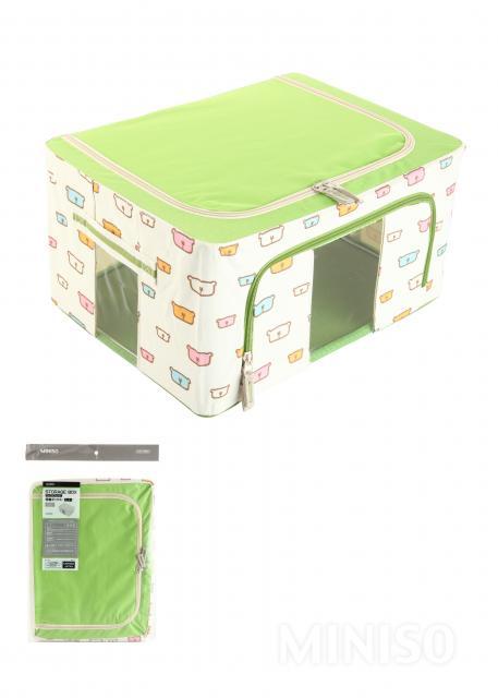 ארגז אחסון קריקטורות מסגרת פלדה 24L (ירוק)