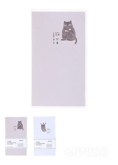 פנקס ממו H5 עם איור של חתול (מארז של 2)