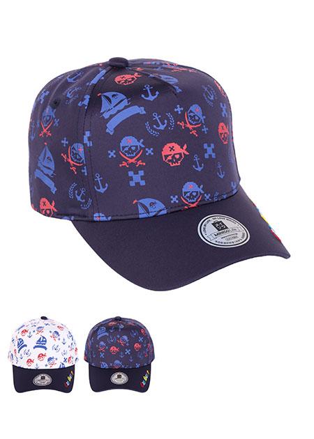 כובע בייסבול לילדים עם הדפס פיראטים